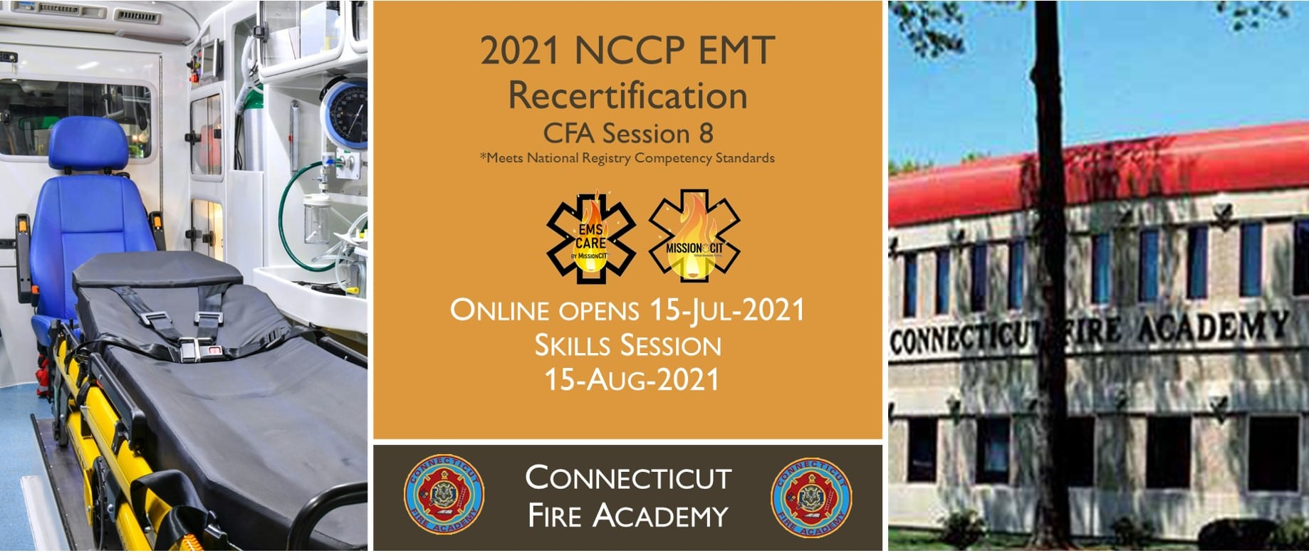 EMT NCCP Recertification | CFA | 2021 Session 8 | Connecticut emt training | meets NREMT, CAPCE requirement for EMTs | National Registry