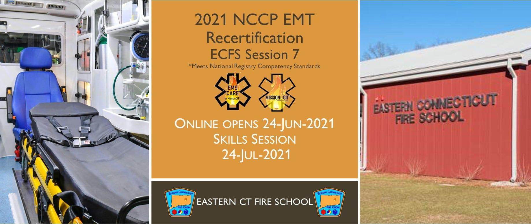 EMT NCCP Recertification Hybrid Course | ECFS | 2021 Session 7 | Connecticut emt training | meets NREMT, CAPCE requirement for EMTs